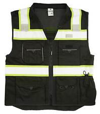 ML KISHIGO B500 Safety Vest, Black with lime yellow and silver reflective Med
