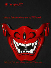 HALF COVER AIRSOFT BB GUN COSTUME DEMON SAMURAI HANNYA KABUKI MASK red MA125