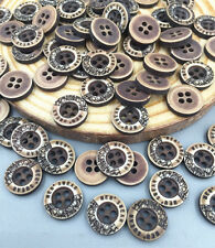 FREE DIY 100X Resin buttons Round Lettering 4-holes Fit sewing Scrapbooking 10mm