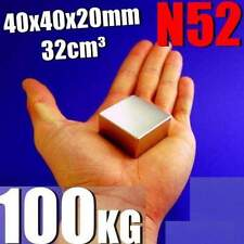 Super Strong N52 Magnet Neodymium 40x40x20mm Rare Earth 100KG + GIFT