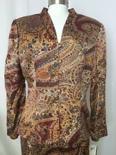Adrianna Papell Vintage Paisley Silk  Earth Tone Suit Skirt Jacket 12 New