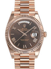 Rolex DAY-DATE 40MM President 228235 Mens Everose Gold Chocolate Roman Dial