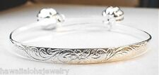5mm Hawaiian Sterling Silver Keiki Child Princess Scrolls Baby Bracelet Adjust