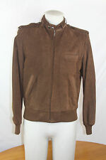 VTG 1980s Members Only Mens Brown Suede Leather Bomber Jacket Size 40 Coat
