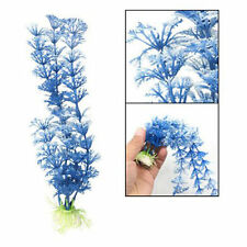 2 PCS NEW White Blue Plastic Grass Underwater Ornament Decoration For Aquarium