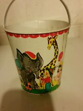 Vintage metal Toy Sand Bucket circus animals kids toys Fox 227
