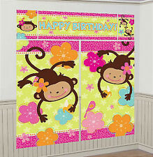 MONKEY LOVE Scene Setter HAPPY BIRTHDAY party 6'  wall decoration kit  jungle