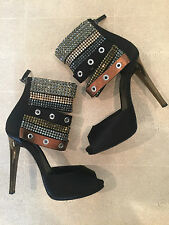 DIEGO DOLCINI Crystal Ankle Blk Peep Toes! Like Giuseppe Zanotti, Louboutin!