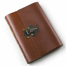 Ancicraft Leather Journal with Retro Flower Vase Lock A5 Lined Paper Red Brown
