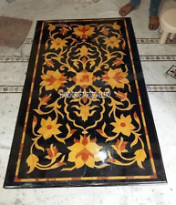 4' x2' Black Marble Dining Side Table Top Inlay Hakik Floral Living Decor 2875
