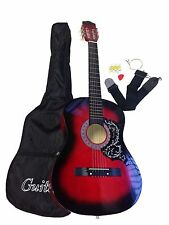 NEW RED ACOUSTIC GUITAR + GIG BAG + STRAP + TUNER