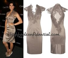 KAREN MILLEN RARE DARK TAUPE BEIGE SATIN & LACE DRESS SIZE 14.