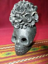 Mexican Art Atzompa Black Pottery Skull Rose Catrina Candle Holder Day of Dead