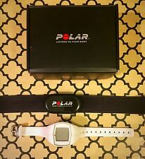Womens Polar ft40 White Heart Rate Monitor Watch with HR Sensor Chest Strap