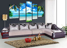 5 Panel Wall Art Oil Painting On Canvas Blue Sky And White Clouds Sea Home Decor
