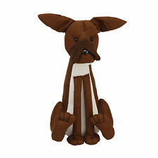 LARGE BROWN FABRIC DOG DOORSTOP. NEW DOOR STOP.CRAZY CLEARANCE.SLIGHT SECOND