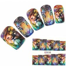 Tattoo Nail Art Löwe Tiger Afrika Wildnis Aufkleber Nagel Sticker