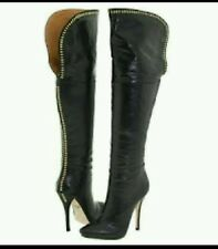 New L.A.M.B. Gwen Stefani JUNEE Studded Brown Leather Over The Knee Boots sz 8