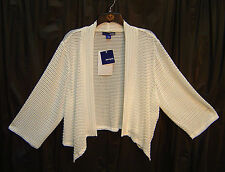 SLINKY OPEN WEAVE/FRONT CORN MESH CARDIGAN SHRUG BOLERO JACKET SWEATER TOP~2X**