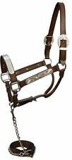 LEATHER AND SILVER WESTERN HORSE SHOW HALTER WITH MATCHING LEAD AND CHAIN