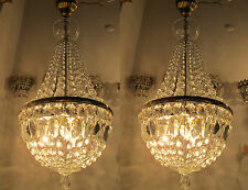 """Pair of Antique Vnt French Basket Style Crystal Chandelier Lamp 1940's 13"""" Width"""