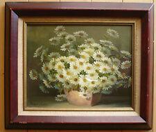 NANCY LEE, LISTED WHITE FLOWERS OIL MODERN SIGNED light RESTORE VINTATE FLORAL