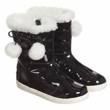 TOD'S BABY GIRLS BLACK PATENT SHEEPSKIN LINED BOOTS EU 26 UK 8.5