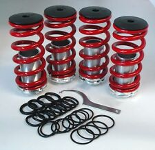 "Honda Adjustable 0-4"" Red Silver Suspension Coilovers Lowering Drop Springs Kit"