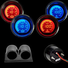 "Blue&Red  2"" 52MM Digital LED EVO Water Temperature Gauge+Oil Press Gauge+Pod"