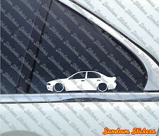 2X Lowered car outline stickers - for Mitsubishi Galant , Legnum VR4 (1996-2003)