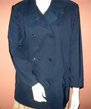 LL BEAN Sz PM Petite M NAVY BLUE Lined DBL.Breasted Peacoat JACKET CAR COAT MWC