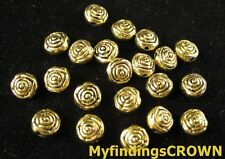 100 pcs Antiqued gold ROSE spacer beads FC1473