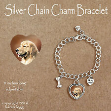 GOLDEN RETREIVER DOG - CHARM BRACELET SILVER CHAIN & HEART