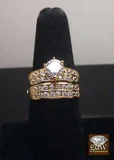10k Yellow Gold And Round Cuts Diamond Bridal Sets Engagement Ring Wedding Band
