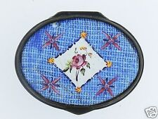 Antique 18C Battersea Bilston Enamel Snuff Box Or Patch Box - Rose Decor - #2 VR