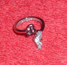 CHILDRENS INITIAL LETTER B ADJUSTABLE SILVER TONE COSTUME JEWELRY RING