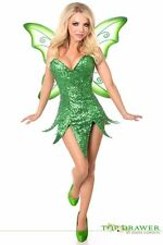 Daisy Corset Top Drawer Green Sequin Fairy Peter Pan Dress Costume ALL SIZES