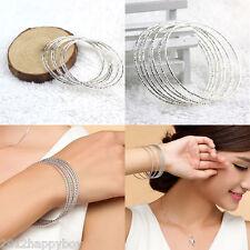 10Pcs Classic Fashion Jewelry Women Silver Plated Bracelet Cuff Bangle Gift