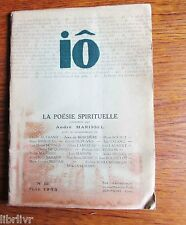 LA POESIE SPIRITUELLE revue des lettres et des arts  Iô n°12 1953 André Marissel