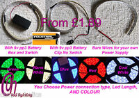 EASY TO USE PEEL & STICK LED STRIPS 9V BATTERY OPERATED CHOICE OF 5 COLOURS