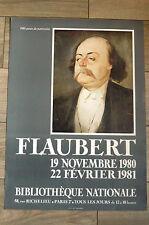 FLAUBERT Affiche originale 1980 année du patrimoine LITTÉTATURE Rouen Croisset
