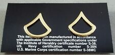 US Army Brass Collar Rank Insignia Private First Class  E-3  / New Pair