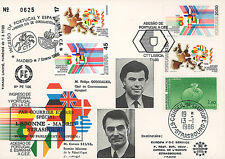 "PE106 FDC SPAIN-PORTUGAL ""Membership of Portugal in EEC - Cavaco SILVA"" 01-1986"