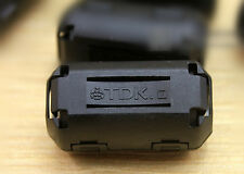 10x TDK black Φ9mm 9mm Clip-on RFI EMI Ferrite Cable Noise Filter FOR Audio TV