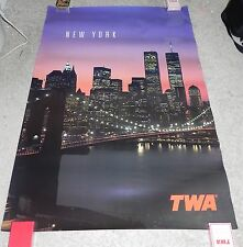 "Rare Vintage Original TWA New York World Trade Center Poster 26"" x 38"" NOS"