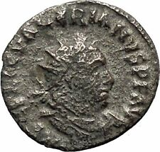 VALERIAN I 255AD Silver  Ancient  Roman Coin Sol with whip Sun God Cult i46413