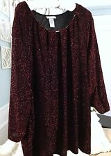 Catherines 4X Plus Size Red Black Sparkle Glitter 3/4 Sleeve Top Blouse