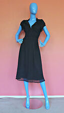 Overlayed Navy Silk Dress M 8 10 Swiss Dot Textured Fairy Occasion Slimming