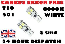 2 x 8000k 501 LED SIDE LIGHT WHITE CANBUS NO ERROR FREE W5W T10 BULB 4 SMD
