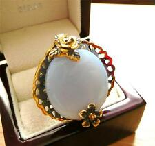 CABOCHON BLUE CHALCEDONY GOLD RHODIUM 925 SILVER HANDMADE ROUND RING R1/2 9.25